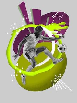 Jonge mannelijke voetballer met kleurrijke kunsttekeningen in stripstijl