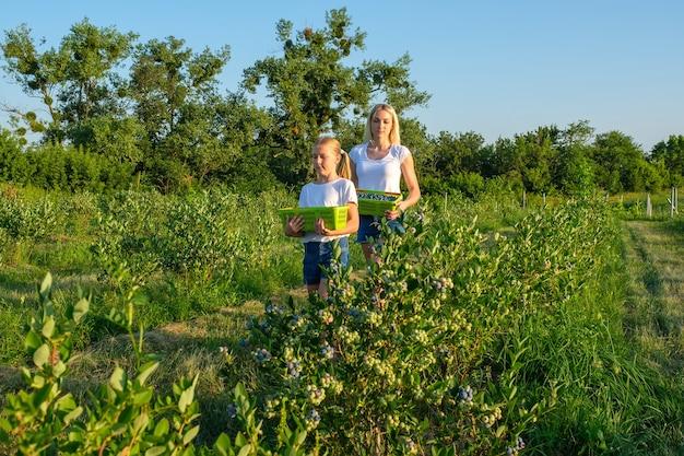 Jonge moeder met haar dochter die bosbessen plukt op biologische boerderij Premium Foto
