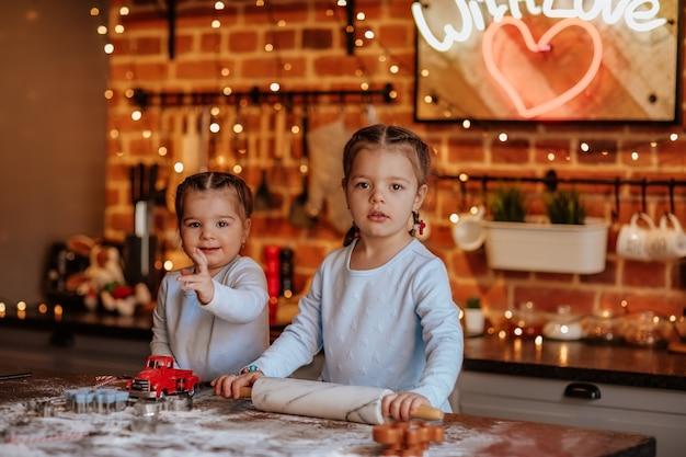 Jonge mooie meisjes in blauwe winterjurken en vlechten koken in de keuken met kerstmis.