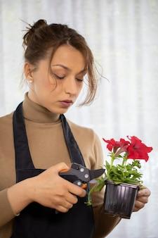 Jonge mooie vrouw bloemist zorgen voor bloeiende petunia's in bloempot
