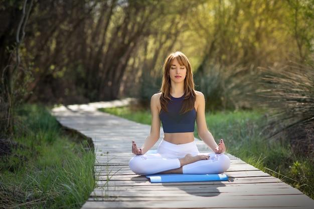 Jonge mooie vrouw doet yoga in de natuur
