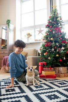 Jonge mooie vrouw in vrijetijdskleding kijken naar grappige hond in gebreide hoofddeksels terwijl ze allebei op de vloer van de woonkamer bij de kerstboom zitten
