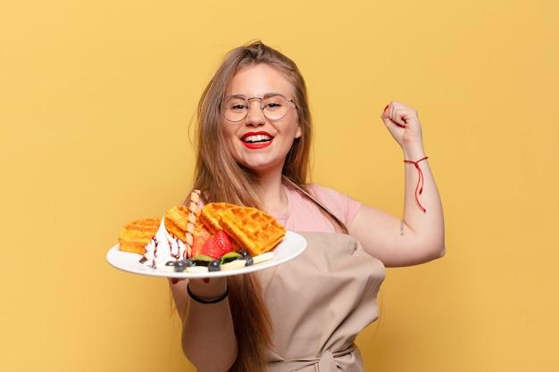 Jonge mooie vrouw trotse uitdrukking baker concept