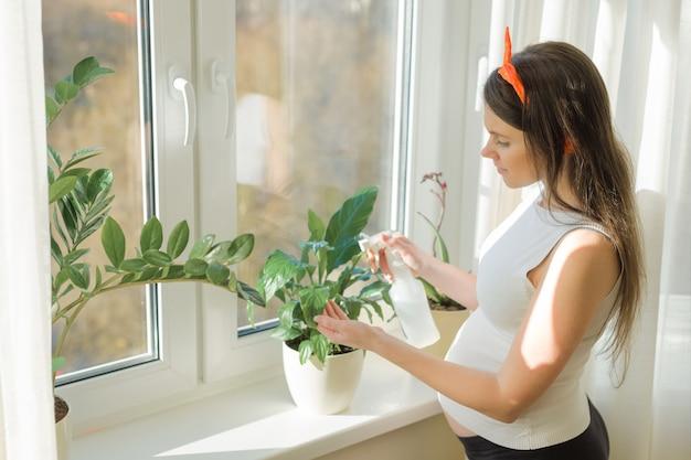 Jonge mooie zwangere vrouw thuis dichtbij het venster dat voor installaties geeft