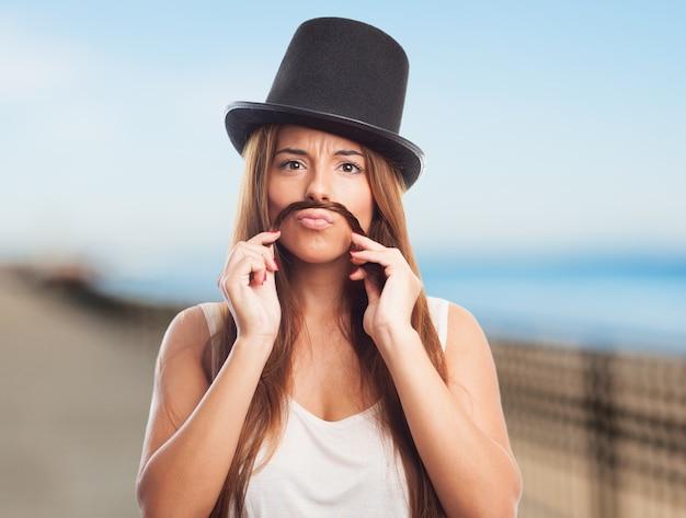 Jonge moustache persoon snor één