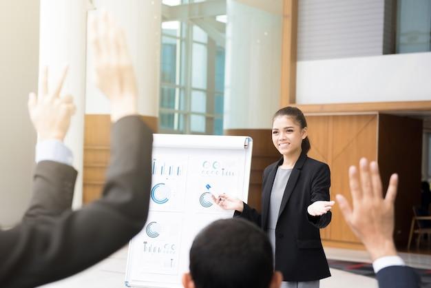 Jonge onderneemster die een presentatie maakt