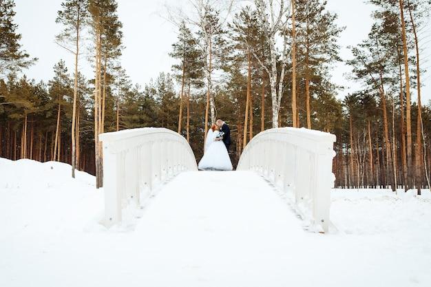 Jonge romantische paar bruidegom en bruid staan op de brug en zoenen. prachtig uitzicht op de achtergrond van het winterbos