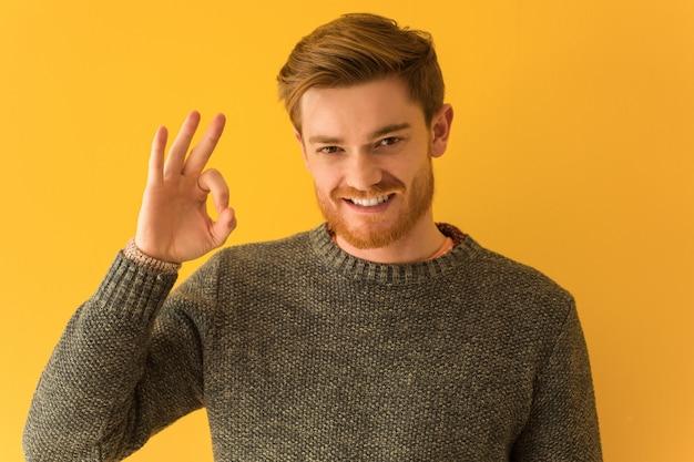 Jonge roodharige man gezicht close-up vrolijk en vol vertrouwen doen ok gebaar