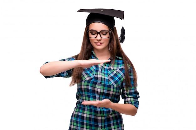 Jonge student die op de witte achtergrond wordt geïsoleerd