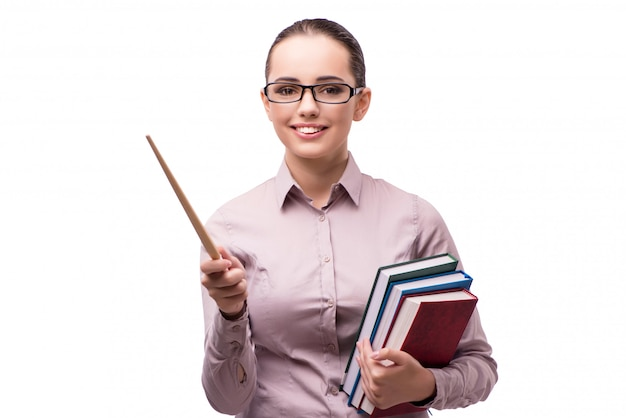Jonge student met boeken die op wit wordt geïsoleerd