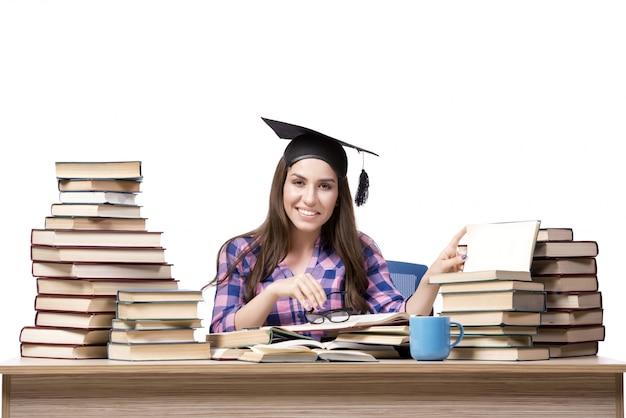 Jonge student schoolexamens voorbereiden