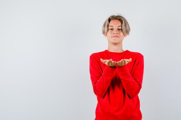 Jonge tienerjongen in rode trui die een gebaar maakt of ontvangt en er vrolijk uitziet, vooraanzicht.