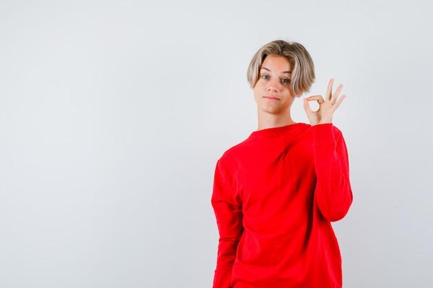 Jonge tienerjongen in rode trui die een goed gebaar toont en er trots uitziet, vooraanzicht.