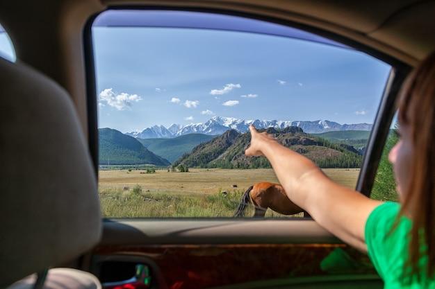 Jonge toeristische vrouw toont zijn vinger de richting van het verkeer voor een verder avontuur op de top van een berg in auto bedekt met sneeuw tegen een blauwe hemelachtergrond. reizen lifestyle en overleven