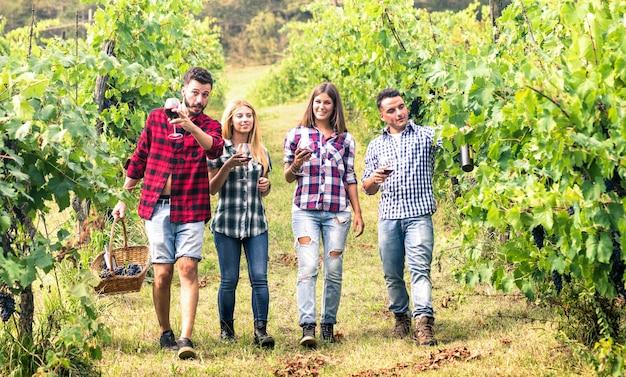 Jonge vrienden die pret hebben die bij wijnmakerijwijngaard in openlucht lopen