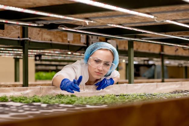 Jonge vrouw boer wetenschapper analyseert en bestudeert onderzoek