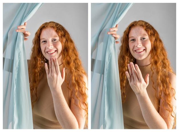 Jonge vrouw communiceren via gebarentaal