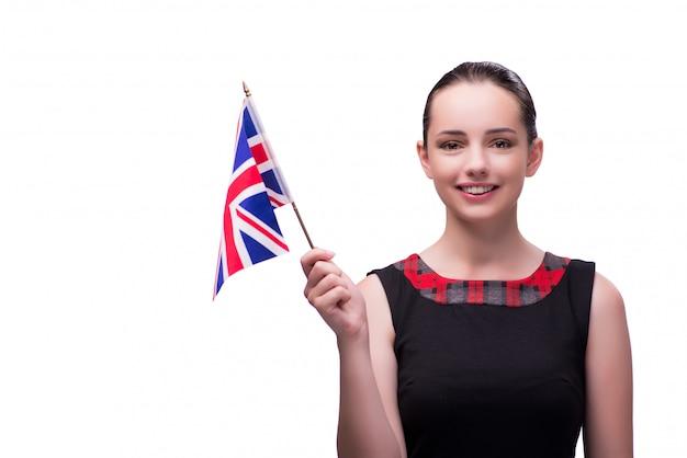 Jonge vrouw die britse vlag houdt