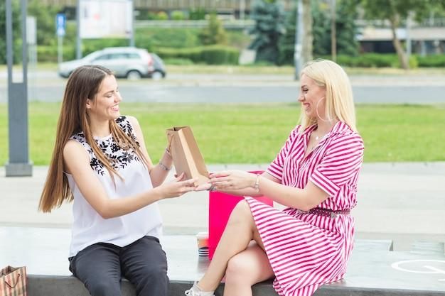 Jonge vrouw die huidige zak geeft aan zijn vriendenzitting in park