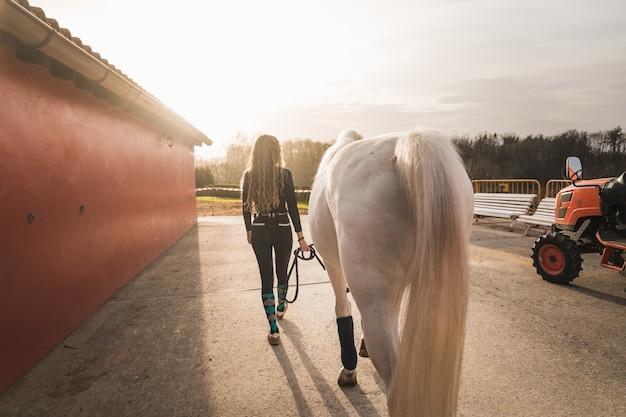 Jonge vrouw die met een paard door de manege loopt