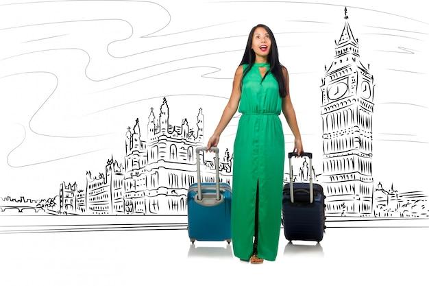 Jonge vrouw die naar londen in het uk reist