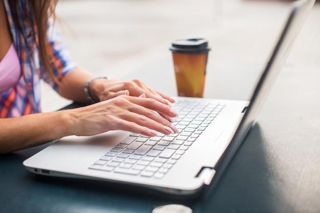 Jonge vrouw die op laptop typt die of in het park bestudeert werkt