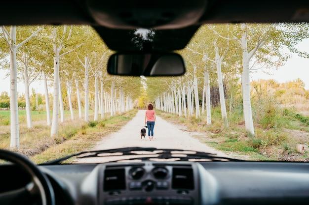 Jonge vrouw en haar border collie-hond die door een bomenweg lopen. uitzicht vanuit het busje. reizen en huisdieren concept