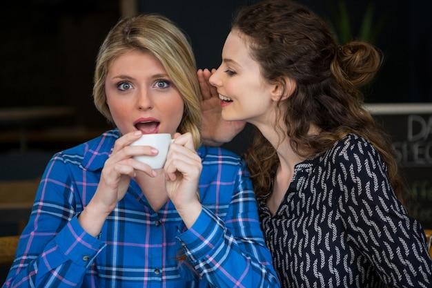 Jonge vrouw geheim fluisteren in het oor van de vriendin in de coffeeshop