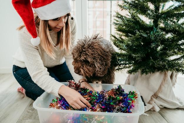 Jonge vrouw haar kerstboom versieren terwijl haar schattige bruine hond haar helpt. kersttijd.
