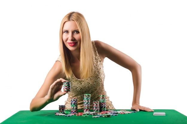 Jonge vrouw in casino het gokken concept