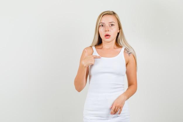 Jonge vrouw in hemd, minirok wijzende vinger naar zichzelf en kijkt verward