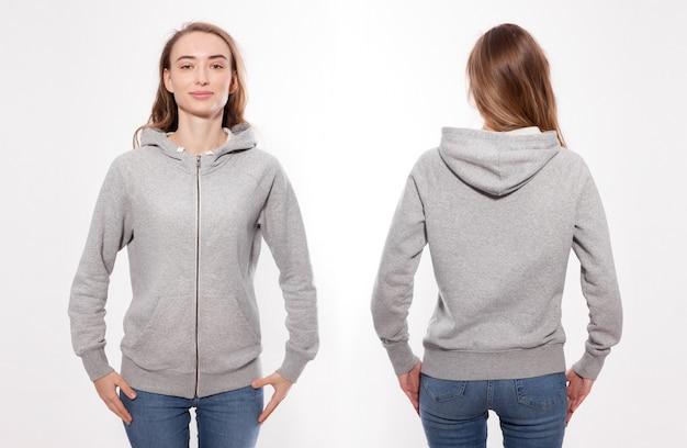 Jonge vrouw in hoodie voor- en achtermodel