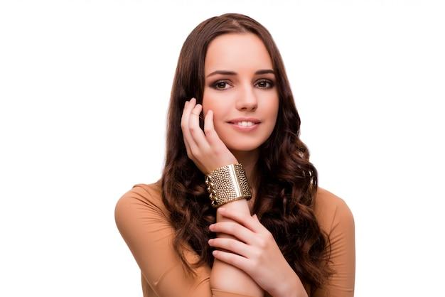 Jonge vrouw in schoonheidsconcept dat op wit wordt geïsoleerd