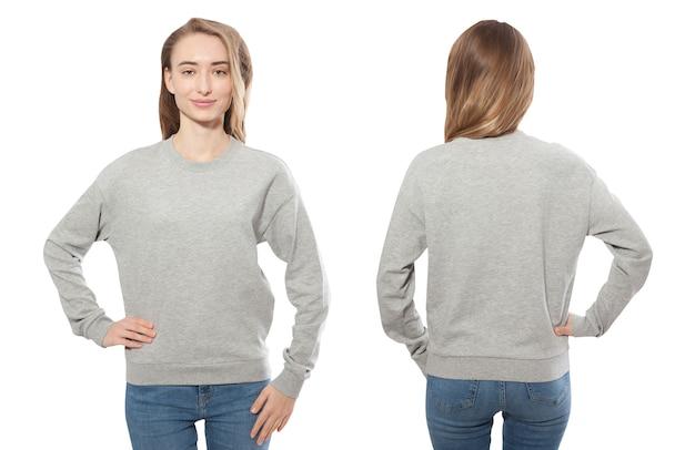 Jonge vrouw in sweatshirt voor- en achtermodel