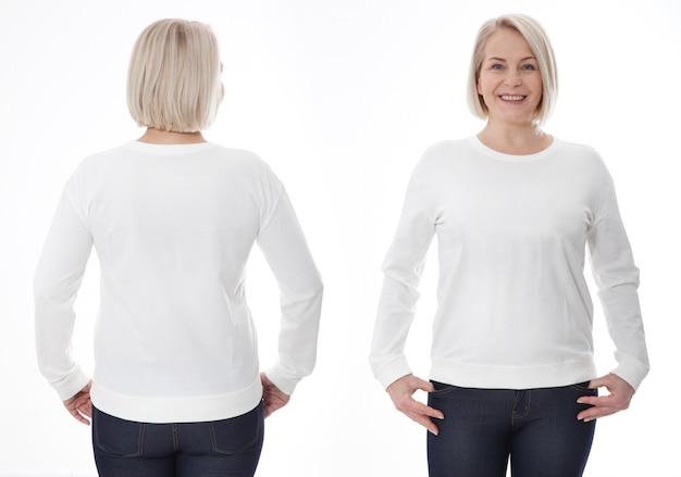 Jonge vrouw in wit sweatshirt voor en achter