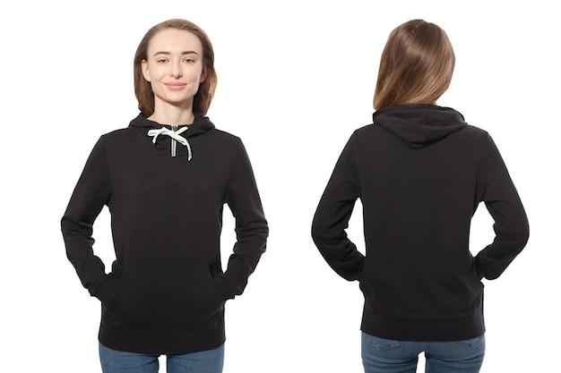 Jonge vrouw in zwarte hoodie voor- en achtermodel