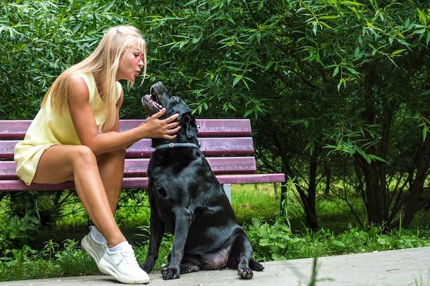 Jonge vrouw kust haar grote zwarte hond op een bankje in het park