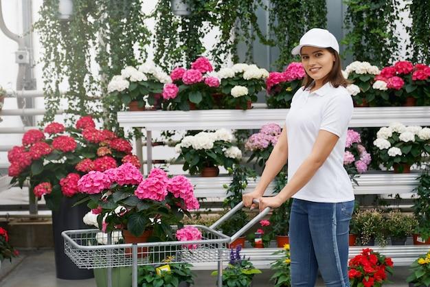 Jonge vrouw met trolley met mooie roze hortensia
