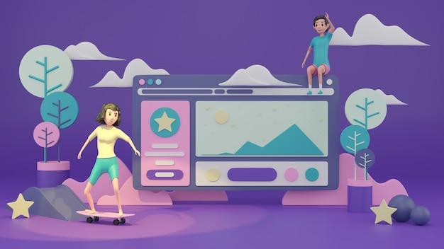 Jonge vrouw op skateboard met webpagina-ontwerp 3d render.