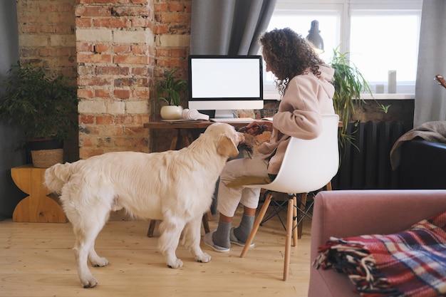 Jonge vrouw speelt met haar hond terwijl u thuis online op de computer werkt