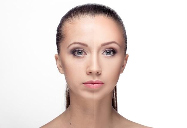 Jonge vrouw, voor en na retoucheren, schoonheidsbehandeling. voor en na cosmetische ingrepen. anti-verouderingstherapie, verwijderen van acne, retoucheren.