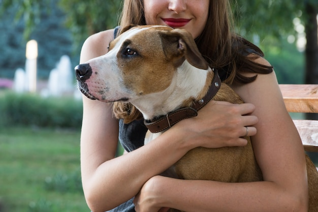 Jonge vrouw zit op een bankje en knuffels haar mooie staffordshire terriër hond op een warme zomerdag