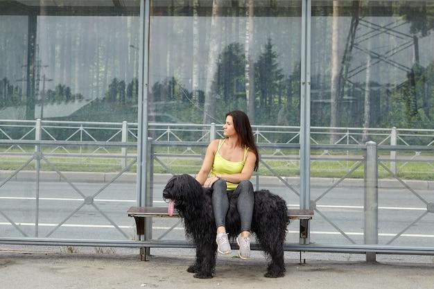 Jonge vrouw zit op tramstation met haar benen op rug van zwarte langharige briard