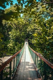 Jonge vrouwelijke avonturier met een rugzak die op brug loopt