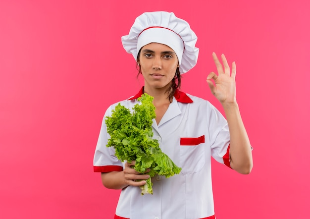 Jonge vrouwelijke kok die de salade van de chef-kok eenvormige holding draagt en okey-gebaar op geïsoleerde roze muur met exemplaarruimte toont