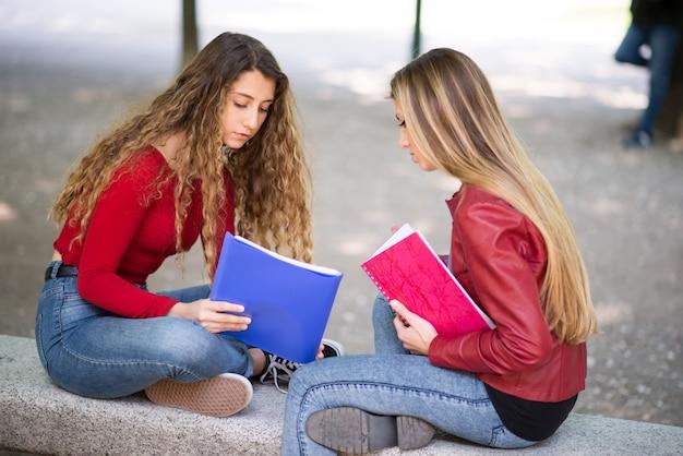 Jonge vrouwelijke studenten die samen in openlucht bestuderen