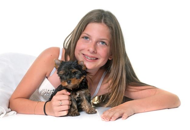 Jonge yorkshire terrier en kind