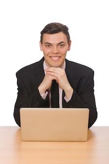 Jonge zakenman die op het wit wordt geïsoleerd