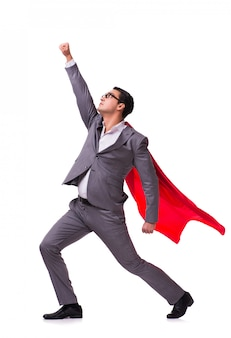 Jonge zakenman die rode dekking op wit draagt