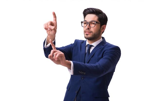 Jonge zakenman die virtuele geïsoleerde knopen drukt